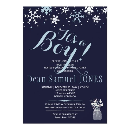 Light blue navy white snowflakes boy baby shower card