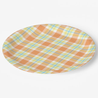 Light Blue Orange Yellow Lumberjack Plaid Pattern Paper Plate