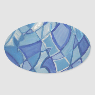 Light Blue Original Abstract Artwork Kara Willis Oval Sticker