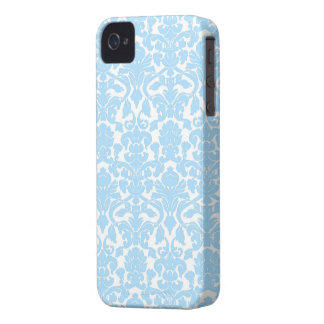 Light Blue Ornate Floral Damask Pattern Case-Mate iPhone 4 Case