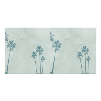 LIGHT BLUE PALM TREES crumpled PAPER TEXTURE DIGIT Photo Card