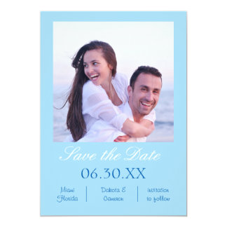 Light Blue Photo Vertical - Save the Date Card
