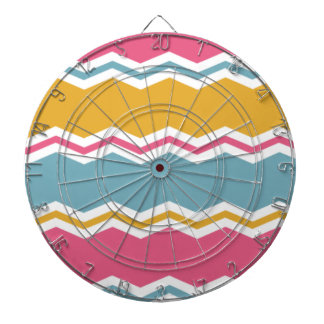 Light Blue, Pink, and Gold Chevron Stripes Dartboard With Darts