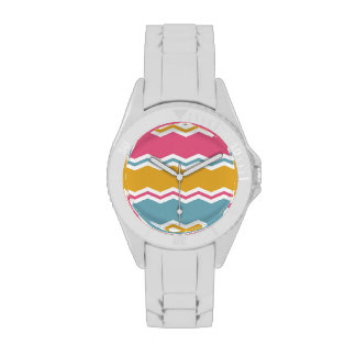 Light Blue, Pink, and Gold Chevron Stripes Wrist Watches