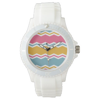 Light Blue, Pink, and Gold Chevron Stripes Wrist Watch