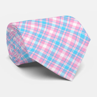 Light Blue, Pink and White Plaid Tie