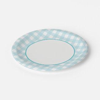Light Blue Plaid Paper Plate