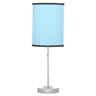 Light blue polka dot pattern fabric, dotted, ovals table lamp