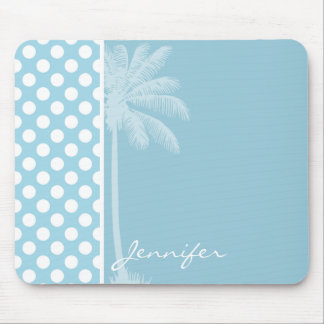 Light Blue Polka Dots; Palm Mouse Pad