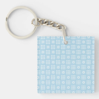 Light Blue Quilt Squares Flowers and Squares Patte Double-Sided Square Acrylic Keychain