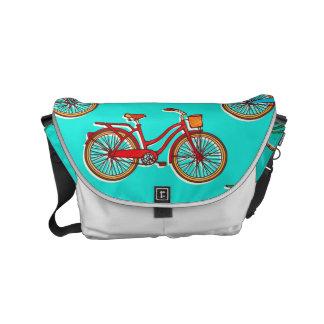 Light Blue Red Bicycle Messenger Bag