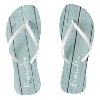 Light Blue Rustic Wood Personalized Flip Flops