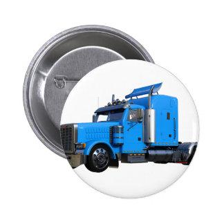 Light Blue Semi Truck in Three Quarter View 2 Inch Round Button