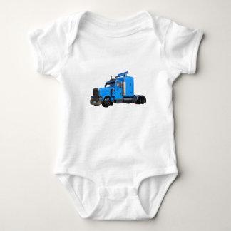 Light Blue Semi Truck in Three Quarter View Baby Bodysuit