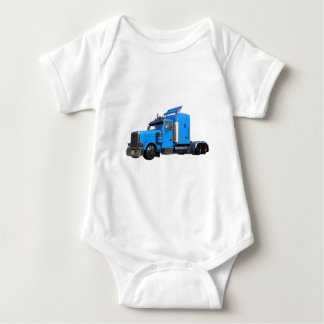 Light Blue Semi Truck in Three Quarter View Baby Bodysuit
