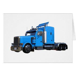 Light Blue Semi Truck in Three Quarter View Card