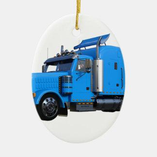 Light Blue Semi Truck in Three Quarter View Ceramic Ornament