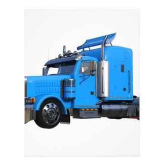 Light Blue Semi Truck in Three Quarter View Letterhead
