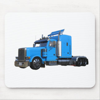 Light Blue Semi Truck in Three Quarter View Mouse Pad