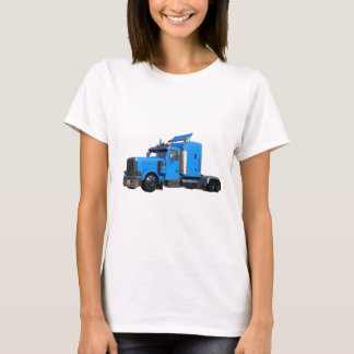 Light Blue Semi Truck in Three Quarter View T-Shirt