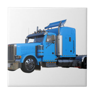 Light Blue Semi Truck in Three Quarter View Tile