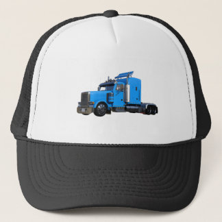 Light Blue Semi Truck in Three Quarter View Trucker Hat