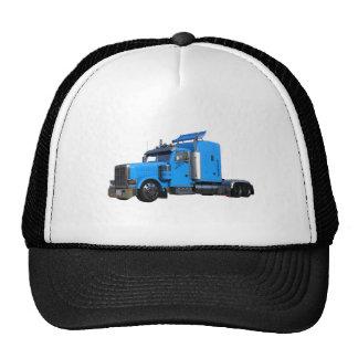 Light Blue Semi Truck in Three Quarter View Trucker Hat