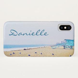 Light blue sky and sandy beach photo custom name Case-Mate iPhone case