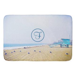 Light blue sky & sandy beach photo custom monogram bath mat