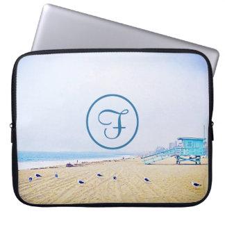 Light blue sky & sandy beach photo custom monogram laptop sleeve