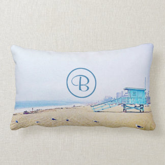 Light blue sky & sandy beach photo custom monogram lumbar pillow