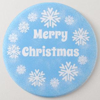light blue snow Merry Christmas 6 Inch Round Button