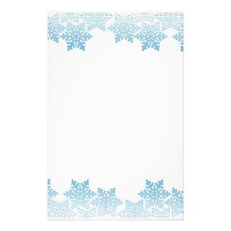 Light Blue Snowflake Border Stationery Design