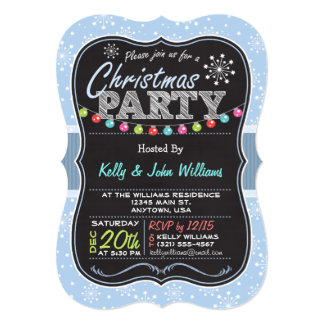Light Blue Snowflake, Chalk look Christmas Party Card