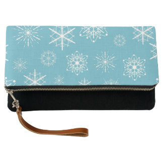 Light Blue Snowflake Christmas Design Clutch