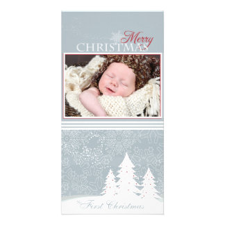 Light Blue snowflake holiday photo card