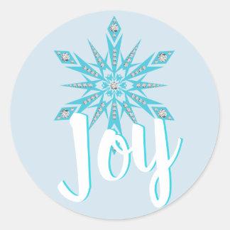 Light blue Snowflake JOY Holiday Christmas Classic Round Sticker