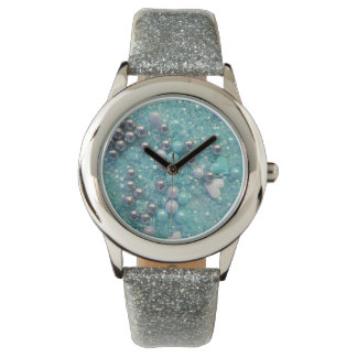 Light Blue Sparkles and Love Hearts Watch