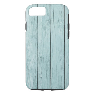 Light Blue Stain Faux Wood Textured iPhone 7 Case