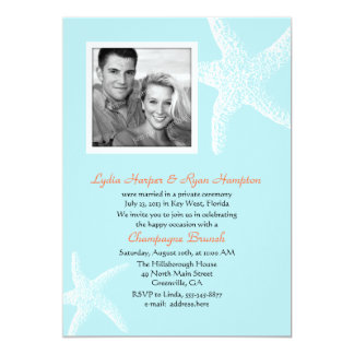 "Light Blue Starfish Photo Template Reception Only 5"" X 7"" Invitation Card"