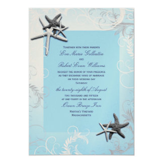 "Light Blue ""Starring"" Starfish Wedding Invitation"