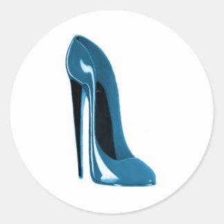 light blue stiletto shoe classic round sticker