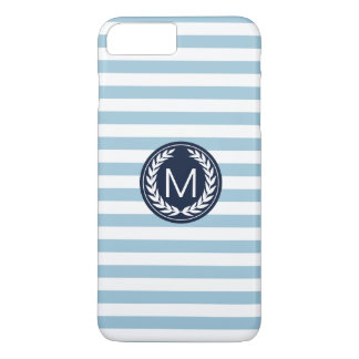 Light Blue Stripe with Navy Laurel Wreath Monogram Case-Mate iPhone Case