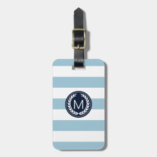 Light Blue Stripe with Navy Laurel Wreath Monogram Luggage Tag