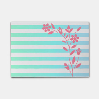 Light Blue Striped Floral Post-it® Notes