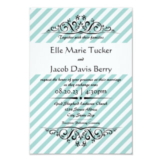 Light Blue Striped Flourish-3x5 Wedding Invitation
