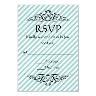 Light Blue Striped Flourish RSVP Card