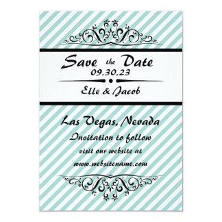 Light Blue Striped Save the Date Flat Photo Card