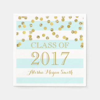Light Blue Stripes Gold Confetti  2017 Graduation Disposable Napkins