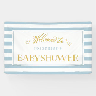 Light Blue Stripes with Gold Mom to Be | Baby Show Banner